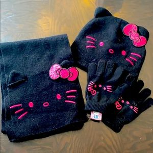 Hello Kitty hat, gloves and scarf